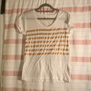 White and rose gold striped j crew t-shirt